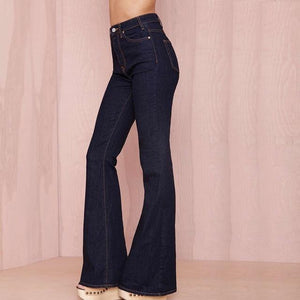 HYH HAOYIHUI Women High Waist Vintage Bell Sexy Deep Black Casual Wide Leg Jeans Elegant Pocket Button Flare Pants-rodewe