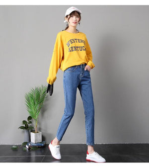 R&H 2018 Ankle Length Dark Blue Boyfriend Jeans Women Loose Harem High Waist Denim Pants Lady Casual Mom Jeans Mujer Plus Size-rodewe