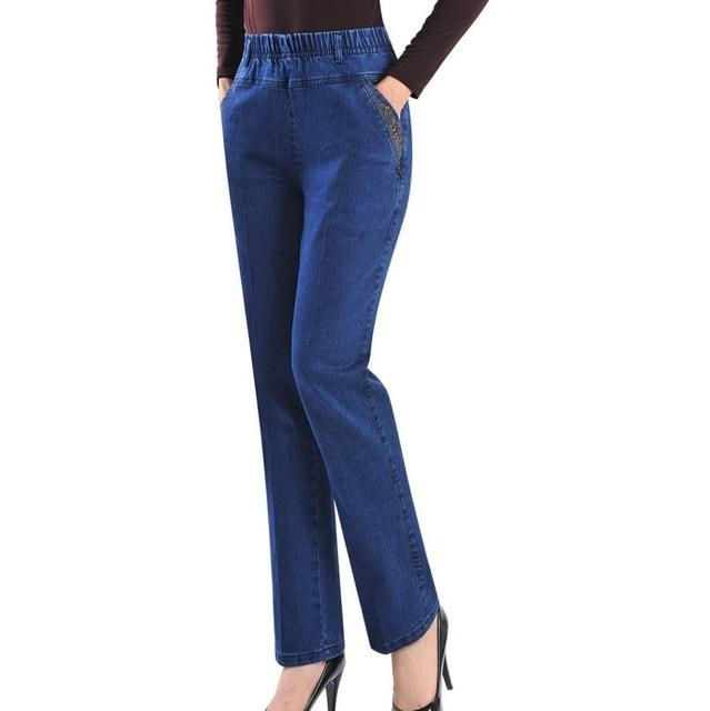 Spring and autumn embroidered jeans female harem high elastic waist plus size 7xl women long pant-rodewe