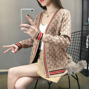 2018 Spring Cardigan Women Korean V Neck Knitted Cardigan Feminino Ladies Long Sleeve Loose Buttons Cardigan Thin Coat-rodewe