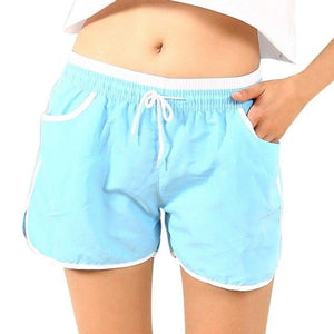 Drawstring Pocket Shorts For Women Side Split Summer Shorts Casual Contrast Binding Elastic Waist Hot Sale Shorts Femme 7 Colors-rodewe