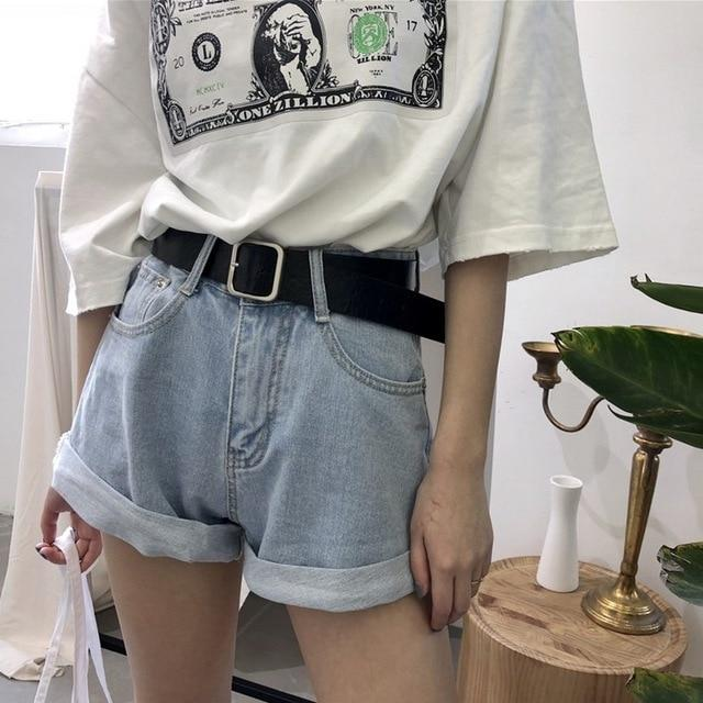Boyfriend Jeans Women Streetwear Shorts Jeans With Belt Retro Pantalones Mujer Fashion Cuffs Wide Leg Pants Denim Short-rodewe