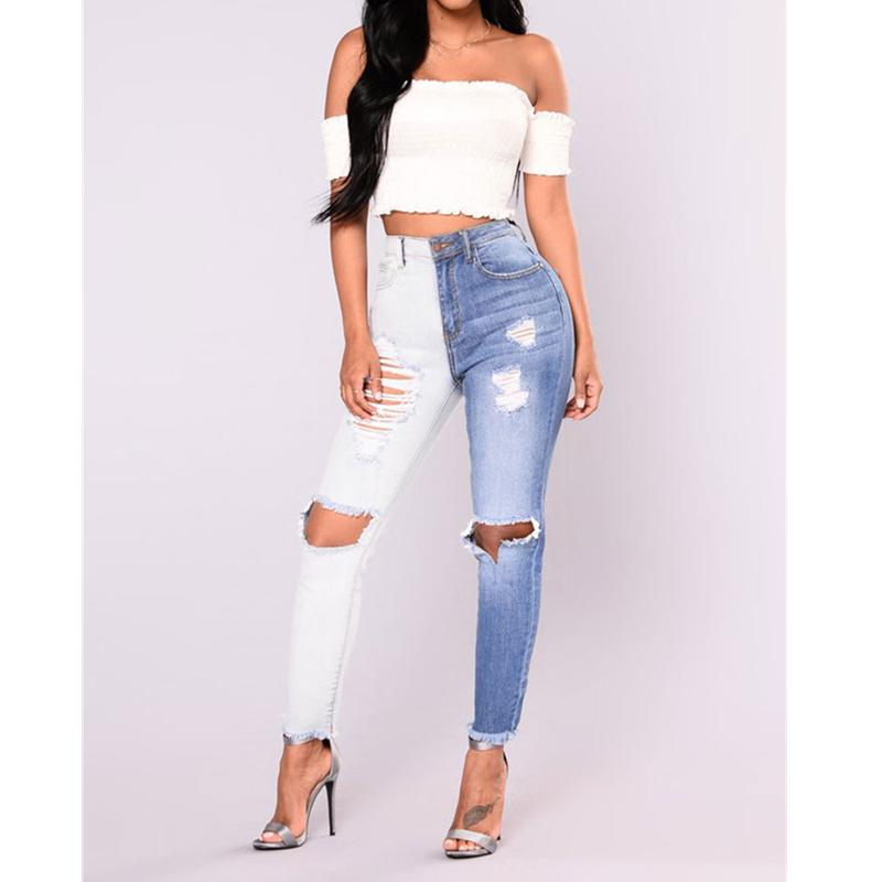 Blue White Colorblock Jeans Women hole Ripped Jeans Full Length High Waist Skinny Pencil Pants 2018 Pantacourt Femme Ete-rodewe