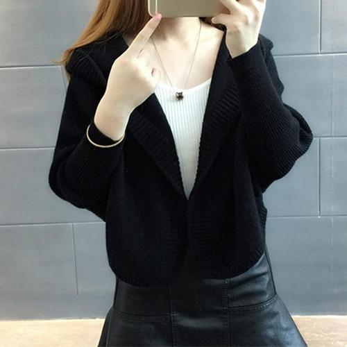Sisjuly women cardigan short sweater batwing sleeve hooded solid knitwear fashion warm casual soft plus size outwear sweater-rodewe