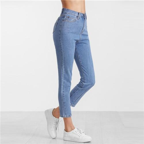 ROMWE Blue Casual New Arrival Button Fly Women Pants Spring Fashion Streetwear Denim Crop Trousers Plain High Waist Jeans-rodewe
