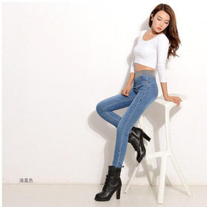 Plus Size Jeans Women Spring Pants High Waist Thin Slim Elastic Waist Pencil Pants Fashion Denim Trousers 3 Color-rodewe