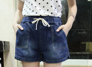 Plus Size 5XL 2017 Hot Summer Women's Shorts High Waist With Pocket Straight Leg Short Blue Jeans Drawstring Trousers B76303M-rodewe