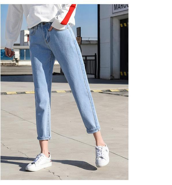 R&H 2018 Women's Pants Loose Mom Jeans High Waist Knee Length Boyfriend Jeans For Women Pants Feminino Mujer-rodewe