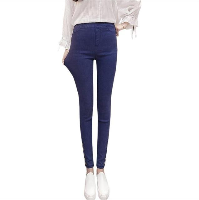 New Autumn High Waist woman Jeans Leggings Outer Wear Jeans women Sweet Vintage Skinny jeans Casual Preppy Style Pencil Pants-rodewe