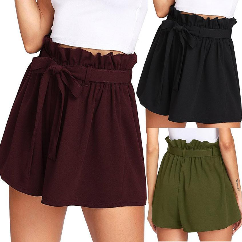 Woman jeans 2018 Women Casual Elastic Waist Hot Pants Summer Shorts Jersey Walking Shorts 7.17-rodewe
