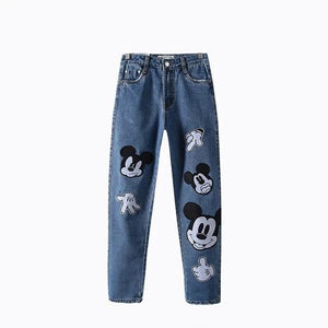 Freeshipping jeans woman jeans 2018 European and American wind cute mickey patchwork mom jeans personality denim pants plus size-rodewe