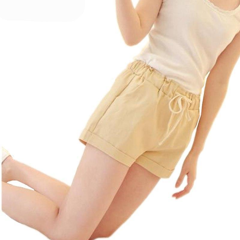 INDJXND 2018 Brand New Summer Women Casual Loose Elastic Waist Cotton Shorts Drawstring Slim Shorts Solid Colors Women Shorts-rodewe