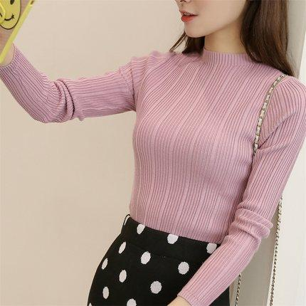 2018 New Winter High Elastic Sweaters Women Slim Bottoming Pullovers Ladies Turtleneck Striped Knitted Tops Female Jumper-rodewe