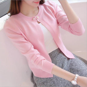 TIGENA Knitted Cardigan Women 2018 Spring Autumn Long Sleeve Sweater Cardigan Female Single Button Pull Femme Black Pink-rodewe