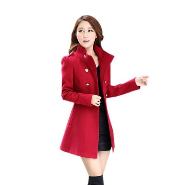 2018 New Autumn Winter Female Double Breasted Stand Windbreaker Coat Lady Warm Full Sleeve Outwear Slim Casual Women Overcoat-rodewe