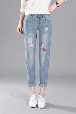 2018 Summer Casual Trousers High Waist Mom Boyfriend Jeans For Women Denim Pants Plus Size 26 38 Ladies Loose Ripped Jeans Woman-rodewe