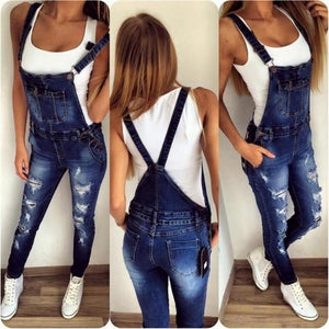 2018 stylish overall Jeans Women Basic Classic High Waist Skinny Pencil Blue Denim Pants ripped hole Jeans student girlfriend-rodewe