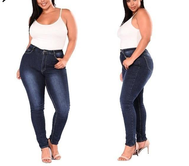 Simplee Plus Jeans Women 2018 Plus Size High Waist Jeans Full Length Fashion Skinny Pencil Stretch Denim Pants Jeans XXL-7XL-rodewe