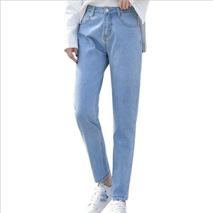 Women Spring Autumn White Black Blue High Waist Loose Denim Jeans Casual Basic All-matched Korean Style Female Pants Dunayskiy-rodewe