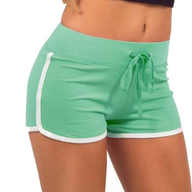 Fast Drying Drawstring Women Shorts Casual Anti Emptied Cotton Contrast Elastic Waist Correndo Short Pants-rodewe