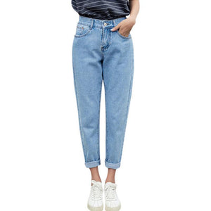 Dunayskiy Autumn jeans women Fashionable Blue High Waist Loose Denim Jeans Female Harem Pants Trousers boyfriend jeans for women-rodewe