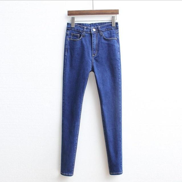 High Waist Skinny Slim All-matched Denim Jeans Black Blue Casual Fashion Basic Long Pencil Pants Trousers Female jeans Women-rodewe