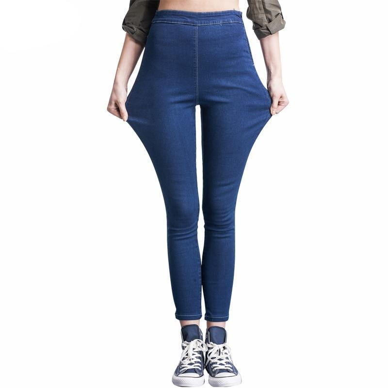 Autumn Style Available Plus Size Women Side Zipper Legging Jeans High Waist Elastic Skinny Jeans Pencil Pants 40-120KG-rodewe