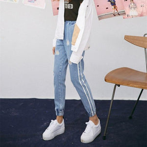 2018 New Vintage Holes Jeans Women Casual Denim Pant Spring Summer High Waist Ripped Jean Ladies White Striped Side Bottom S-XXL-rodewe