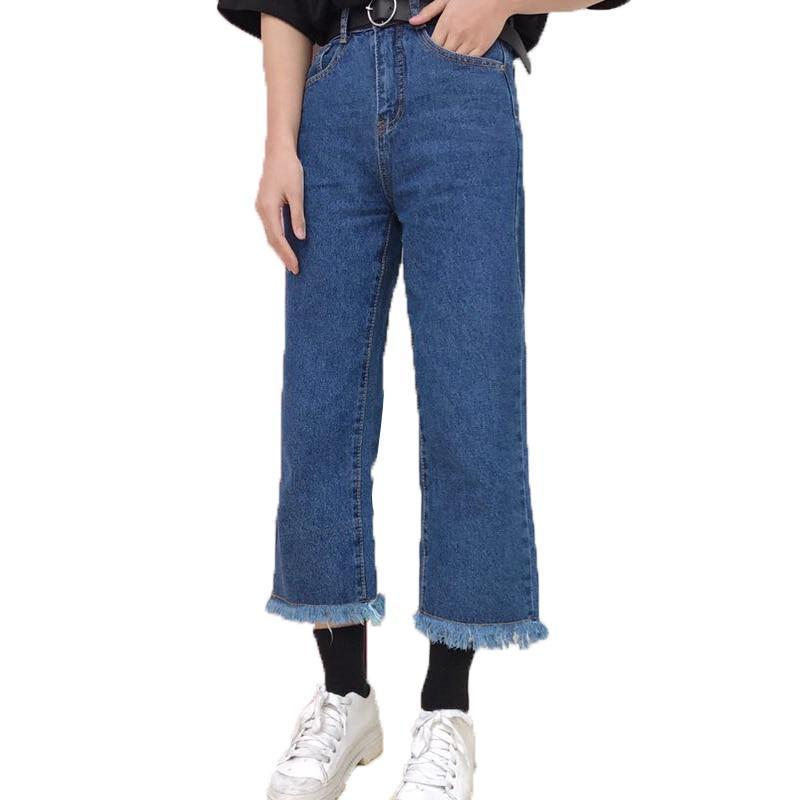 RUGOD 2018 New Winter Casual Loose Wide Leg Pants jeans women Straight High Waist Pants Women Jeans ankle-length pants-rodewe