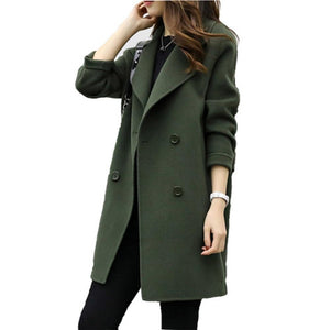 Female Double-breasted Overcoat Long Sleeve Turn-down Collar Slim Fit Women Army Green Woolen Coats Spring Windproof Warm Jacket-rodewe