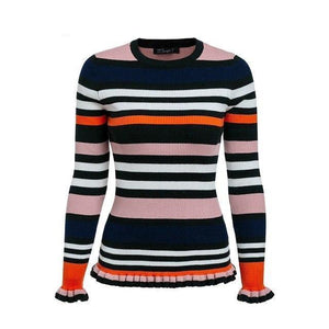 BerryGo Striped ruffle knitting winter sweater 2018 O neck slim casual pollover women Flounce sleeve knitted jumper pull femme-rodewe