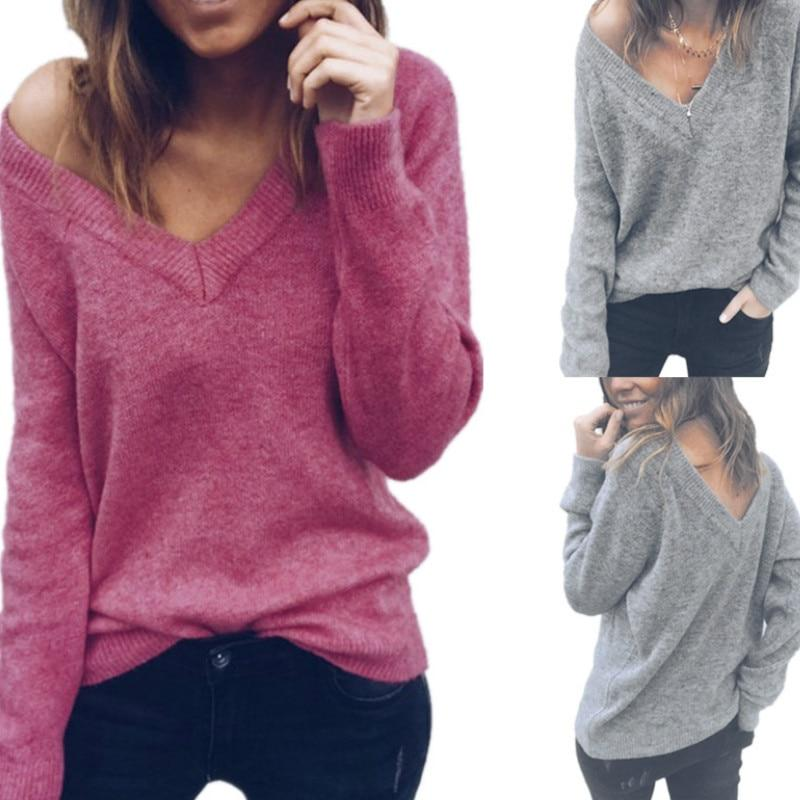 Women Knitted Autumn Sweater V-neck Long Sleeve Backless Tops Elegant Lady Double Dressing 2018 Winter Sweaters Plus Size GV985-rodewe