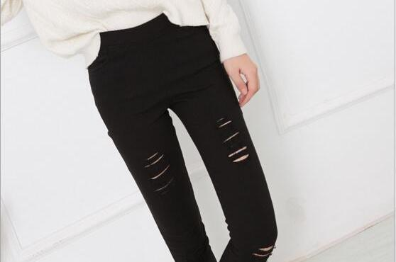 2018 Cotton High Elastic Imitate Jeans Woman Knee Skinny Pencil Pants Slim Ripped Jeans For Women Black Ripped Jeans XXXL-rodewe