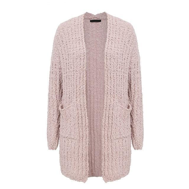 BerryGo Chenille pockets long knitted cardigan women Loose soft oversized casual cardigan 2018 Autumn winter sweater female-rodewe
