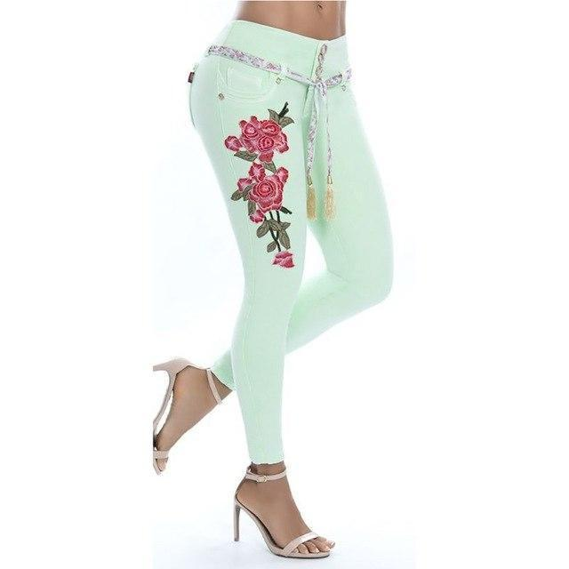 Fashion Embroidery Flower Elastic Skinny Jeans Women Long Pencil Pants Trousers-rodewe