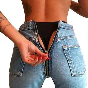 CWLSP Spring Summer High Waist Black Jeans For Women Back Zipper Skinny Pencil Denim Pants Elastic Stretched Trousers QL3333-rodewe