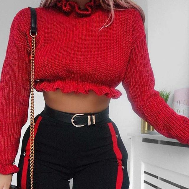1be2c2d1cc Ahagaga 2018 Autumn Winter Sweater Women Tops Fashion Solid Red Ruffles  Regular Sexy Short Knitted Women