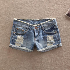 2018 Hot sale Top quality new Women's fashion sexy Denim Casual pockets Hole Burr jeans lady short pants low waist Girl shorts-rodewe