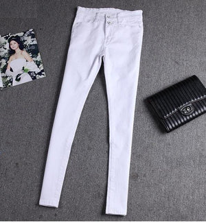 Glorifine Brand Women Fashion White Black Blue Denim Jeans Pencil Pants Skinny Slim Female Trousers Casual Stretch Pants-rodewe
