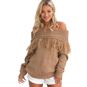 Nadafair Off Shoulder Tassel Long Sleeve Slash Neck Sexy Casual Autumn Sweaters Women Cotton Knitted Pullovers-rodewe