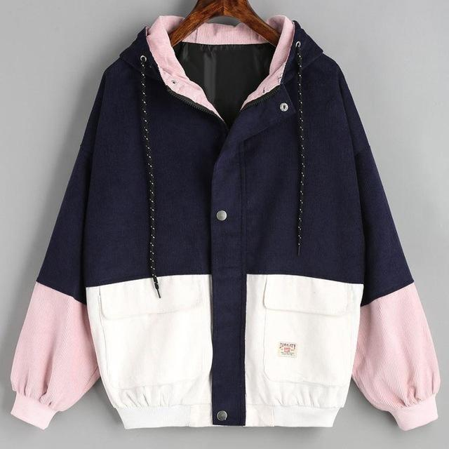 Outerwear & Coats Jackets Long Sleeve Corduroy Patchwork Oversize Zipper Jacket Windbreaker coats and jackets women 2018JUL25-rodewe