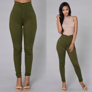 2018 Solid Wash Skinny Jeans Woman High Waist winter Denim Pants Plus Size Push Up Trousers Bodycon warm Pencil Pants Female-rodewe