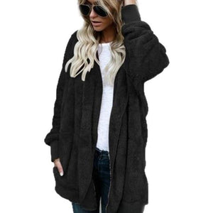 European American Women's Sweaters Autumn Winter Thicken Plus Velvet Long-sleeved Hooded Sweater Cardigan Women Fashion Tops-rodewe