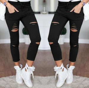 New 2016 Skinny Jeans Women Denim Pants Holes Destroyed Knee Pencil Pants Casual Trousers Black White Stretch Ripped Jeans-rodewe