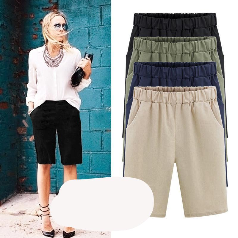2018 Summer women shorts Loose Cotton Solid Color casual shorts womens plus size M-6XL short pants-rodewe