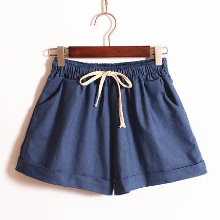 Youth Female Cotton Shorts 2018 Summer Fashion Candy Color Elastic Waist Drawstring Short Pants Woman Casual Plus Size Shorts-rodewe