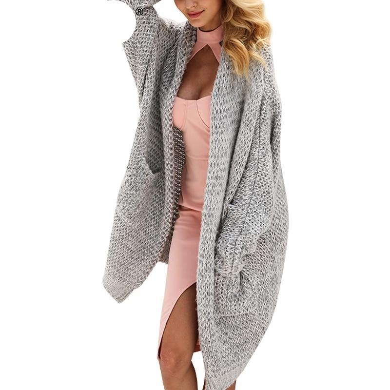 BerryGo Long cardigan female casual loose plus size cardigan 2018 knitted Women sweater ladies autumn winter sweater coat jumper-rodewe