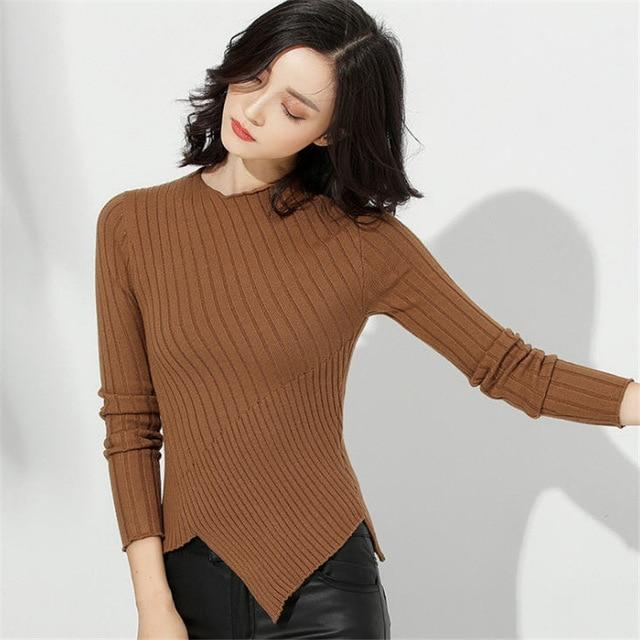 Womens Sweaters 2018 Fall Fashion Skinny Elastic Turtleneck Solid Knit Sweater Female Irregular Hem Soft Pullover Winter A1752-rodewe