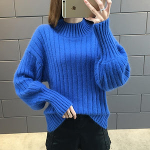 Winter Women Sweaters Long Lantern Sleeve Turtleneck Knitted Jumper Warm Loose Korean Elasticity Casual Pullovers Plus Size 3XL-rodewe