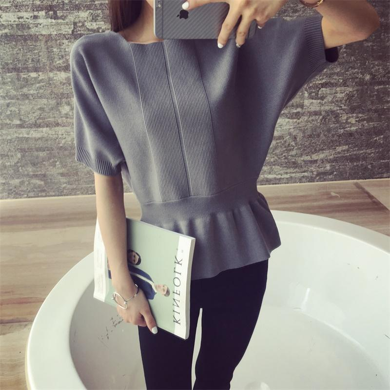 New sweater with a pullover Women' The new spring and summer of 35 Han edition to collect waist sets sweater dress batwing coat-rodewe